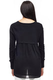 Plus Size La Cera Rounded Neck Sweater Top with Georgette Back