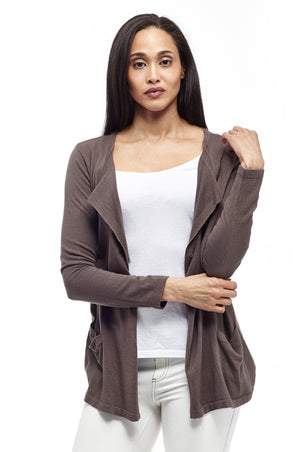 Plus Size La Cera Long Sleeve Waterfall Cardigan