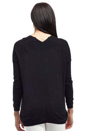 La Cera Long Sleeve Pullover Sweater with Pocket