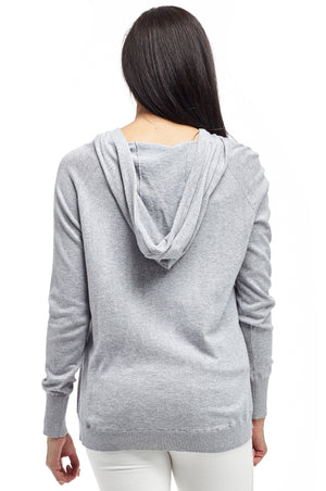 La Cera Drawstring Hooded Pullover Sweater