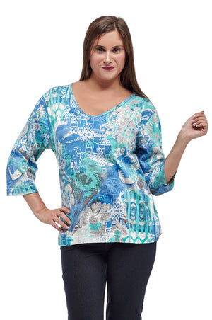 La Cera La Cera Multi Printed Tunic Top
