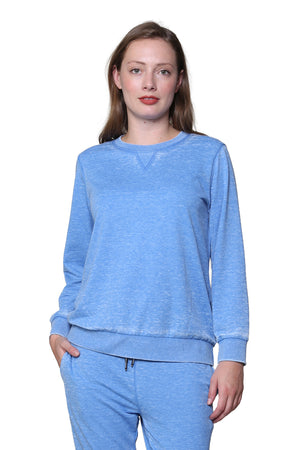 Heathered Crew Neck French Terry Sweatshirt