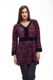 Velour Burnout Jacquard Trimmed Tunic