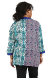 Plus Size La Cera Blue Multi Patchwork Top