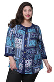 Plus Size La Cera Blue Patchwork Top