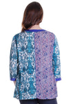 La Cera Blue Multi Patchwork Top