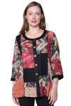 La Cera Black and Red Patchwork Top
