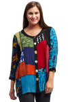 La Cera Red Patchwork Top