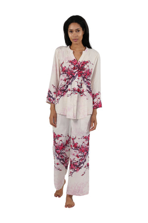 Printed Long Sleeve Rayon Pajamas