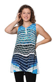 Printed Sleeveless A-Line Top