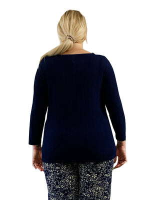 Plus Size La Cera Solid Cowl Neck Top