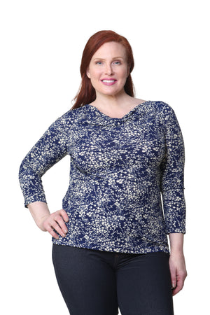 Plus Size La Cera Lucerne Floral Cowl Neck Top