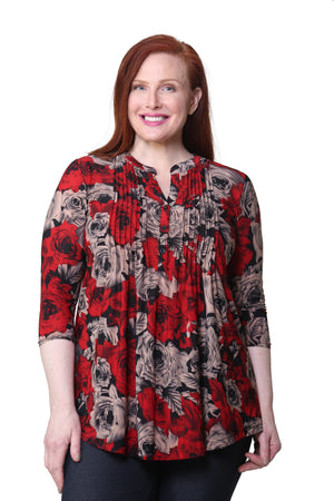 Plus Size La Cera Midnight Roses Print Tunic