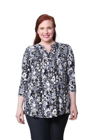 Plus Size La Cera Midnight Blooms Print Tunic