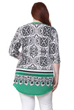 Plus Size La Cera Pleat Front Printed Tunic Black and Green