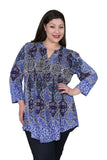 Plus Size La Cera Pleat Front Printed Tunic Blue Multi