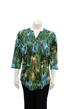 Plus Size La Cera Pleat Front Printed Tunic Peacock