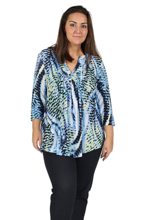 Plus Size La Cera Pleat Front Printed Tunic Blue Yellow