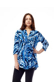 Plus Size La Cera Pleat Front Printed Tunic Tie-Dye Blue