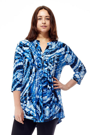 La Cera Pleat Front Printed Tunic Tie-Dye Blue