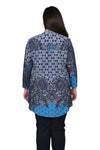 Plus Size La Cera Pleat Front Printed Tunic Blue
