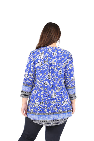 Plus Size La Cera Pleat Front Printed Tunic With Border Print