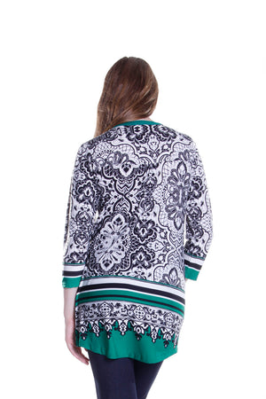 La Cera Pleat Front Printed Tunic Black and Green