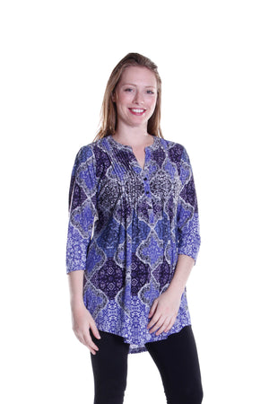 La Cera Pleat Front Printed Tunic Blue