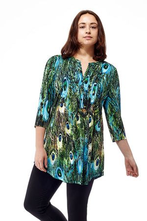 La Cera Pleat Front Printed Tunic Peacock