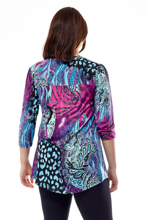 La Cera Pleat Front Printed Tunic Purple