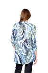 La Cera Pleat Front Printed Tunic Blue Yellow