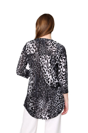 La Cera Pleat Front Printed Tunic Black