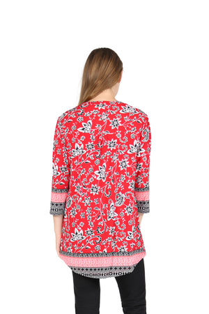 La Cera Pleat Front Printed Tunic With Border Print