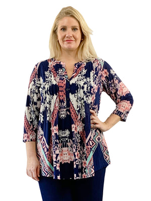 Plus Size La Cera Key West Deco Print Tunic