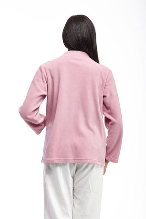 Snap Front Fleece Plus Size Bed Jacket