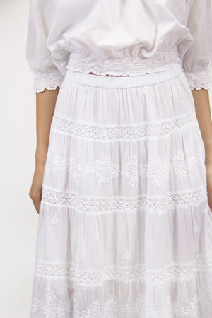 La Cera Embroidered Detail Peasant Skirt - La Cera™ - 2