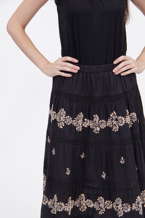 La Cera Embroidered Detail Peasant Skirt - La Cera™ - 4