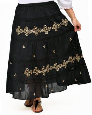 La Cera Plus Size Embroidery Detail Peasant Skirt - La Cera™ - 1