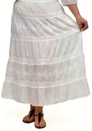 La Cera Plus Size Embroidery Detail Peasant Skirt - La Cera™ - 3