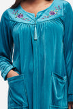La Cera Zip Front Embroidered Yoke Robe - La Cera™ - 2