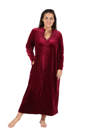 Plus Size Smocked Velour Zip Front Robe