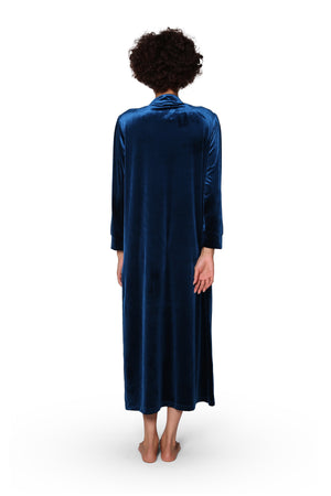 Smocked Velour Zip Front Robe