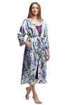 Long Floral Lilac Satin Robe