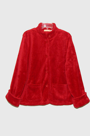 La Cera Plush Red Bed Jacket - La Cera™ - 2
