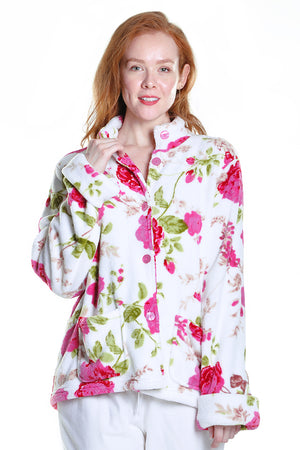 Floral Fleece Bed Jacket