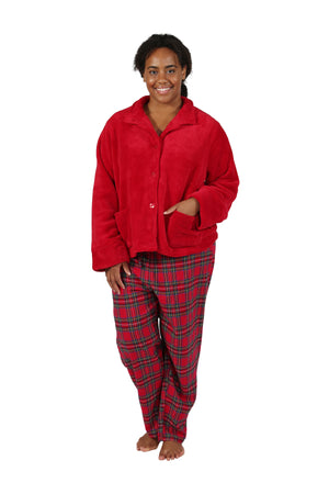 La Cera Plus Size Plush Red Bed Jacket