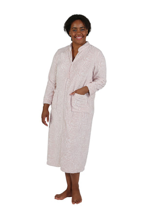 Plus Size Rose Print Minky Zip Front Robe