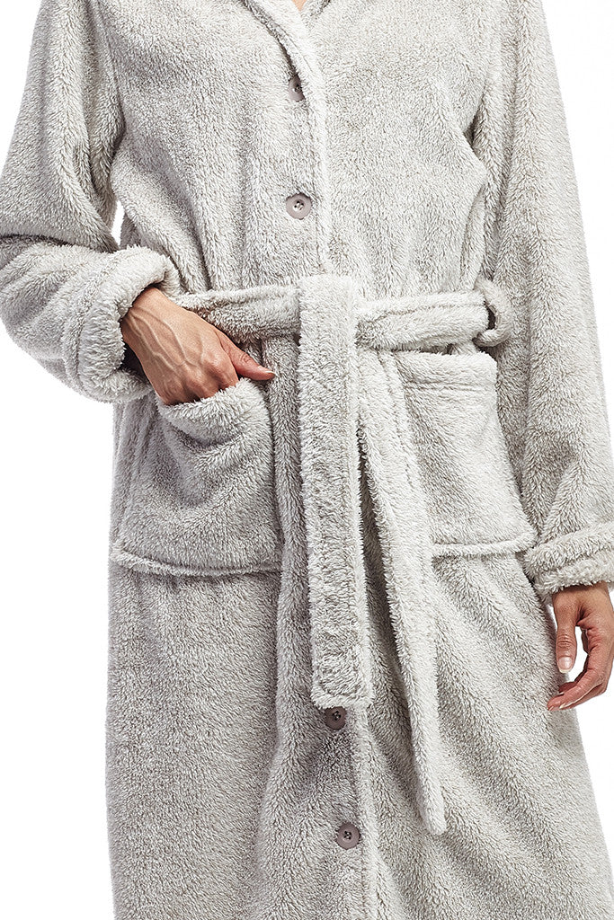 La Cera Belted Full Length Fleece Robe - La Cera™ - 2