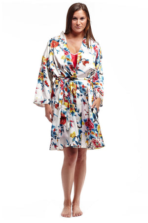 Floral Multi Colored Satin Robe