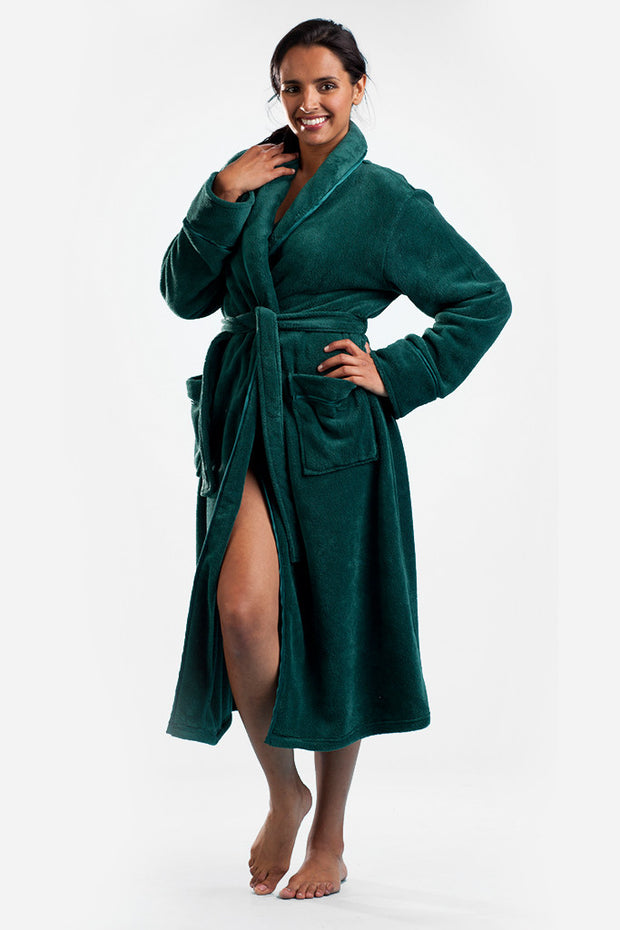 La Cera Satin Trimmed Long Robe - La Cera™ - 1